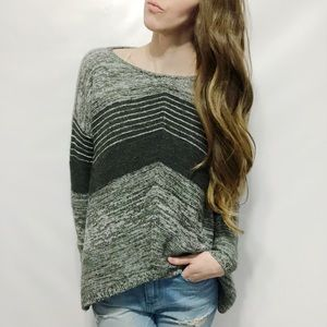 Express Wool-Blend Striped Sharkbite-Hem Sweater